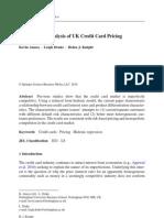 Empirical Analysis of UK Credit Card Pricing
