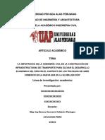 """""""LA IMPORTANCIA DE LA INGENIERÍA CIVIL EN LA CONSTRUCCIÓN DE INFRAESTRUCTURAS DE TRANSPORTE PARA ELEVAR EL DESARROLLO ECONÓMICO DEL PERÚ EN EL CONTEXTO DE LOS TRATADOS DE LIBRE COMERCIO EN LA NUEVA ERA DE LA GLOBALIZACIÓN"""""""