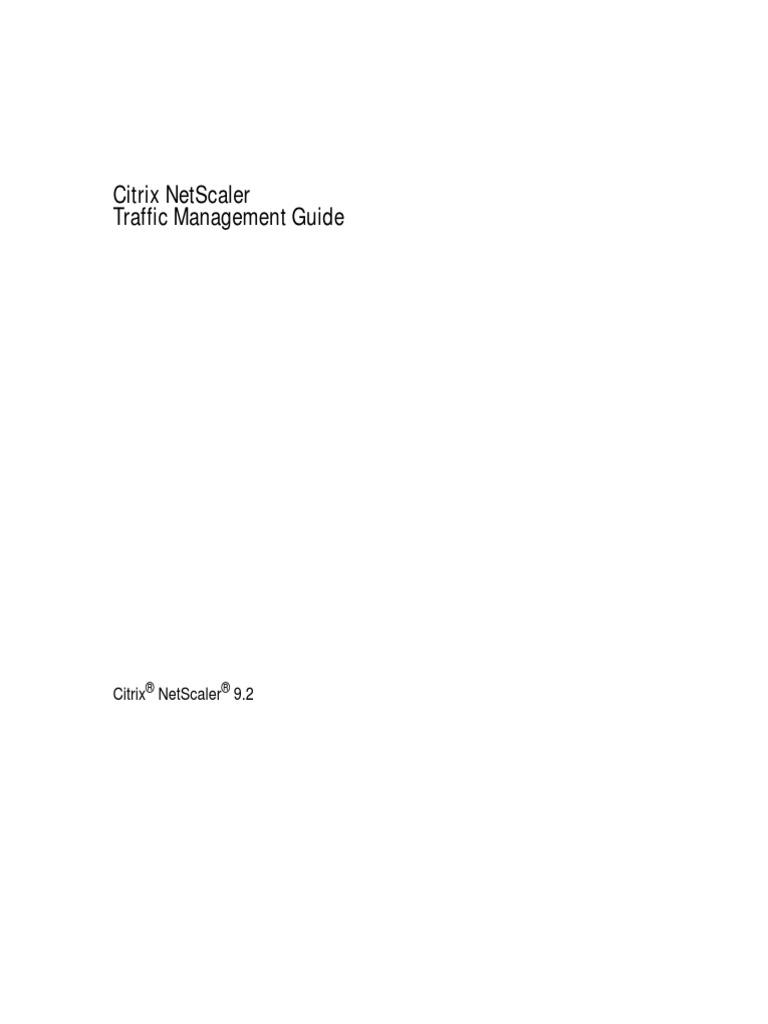 Citrix Netscaler Traffic Management Guide