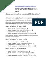 CALENDARIO LUNAR 2019 Y 2020