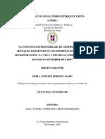 La violencia intrafamiliar, de genero y delitos sexuales, existentes en los distritos judiciales de Monseñor Nouel, La Vega y Espaillat