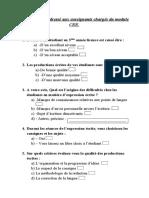 Questionnaire adressé aux enseignants chargés du module CEE 2