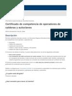 Certificado de competencia de operadores de calderas y autoclaves