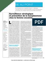 toxoplasmose chez la femme enceinte surveillance sérologique et prévention_RDP_2019_3_291