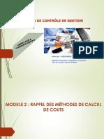 MODULE 2 RAPPEL DES METHODES DE CALCUL DE COUTS
