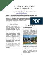 TARIFA PREFERENCIALES DE ENERGIA RENOVABLES