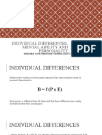 Individual Differences, Mental Ability and Personality