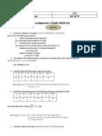 Mathematics 1 Class X (2020-21)