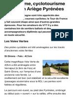 Cyclotourisme et VTT en Ariège Pyrénées