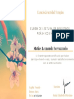 Certificado Lectura Nivel I y II - Matías Leonardo Ferrazzuolo