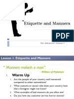 Lesson 1 - Etiquette and Manners