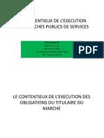 Le Contentieux de l Execution Des Marches Publics de Services