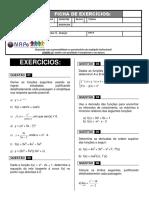 EXERCÍCIOS - CÁLCULO 1 - NIVELAMENTO