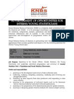 ADVERTISEMENT - INTERNSHIP AND YOUNG STASTICIANS POSITIONS