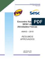 ANAIS ENCONTRO NACIONAL SESC DE ATIVIDADES FÍSICAS