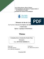Evaluation De La Gestion Des Stocks D'une Entreprise