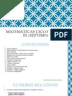 MATEMÁTICAS CICLO III (séptimo)
