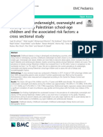 Prevalence of underweight, overweight and obesity among Palestinian school-age children and the associated risk factors- a cross sectional study