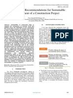 Guidance and Recommendations for Sustainable Management of a Construction Project
