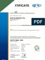 ISO TS 16949_BASF Poliuretanos