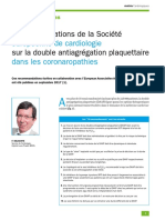Recos Double antiagregation dans coronaropathies 2017