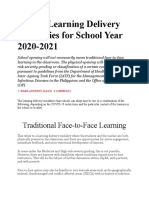 DepEd Learning Delivery Modalities for School Year 2020