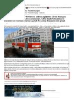 Times New Roman - Telecabină în Bucureşti! Un tramvai a rămas agăţat de sârmă deasupra unei gropi