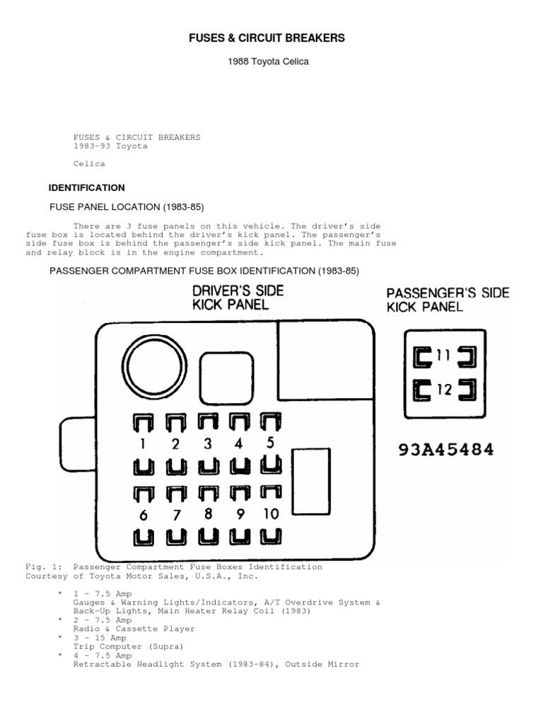 1983 Toyota Fuse Panel Box Car Wiring Diagram For 91 Celica Fuses And Circuit Breakers Headlamp Relay Rh Scribd Com 4runner Solara
