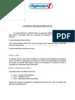 CONTRAT DE MAINTENANCE Agence N°1