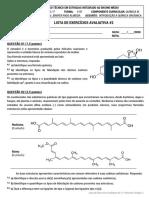 Lista de Exercício Avaliativa #2 - QUÍMICA III - ESTRADAS - V7.pdf