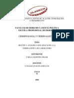 PRÁCTICA- ANÁLISIS CASOS APLICADOS A LA CRIMINALISTICA DE LABORATORIO