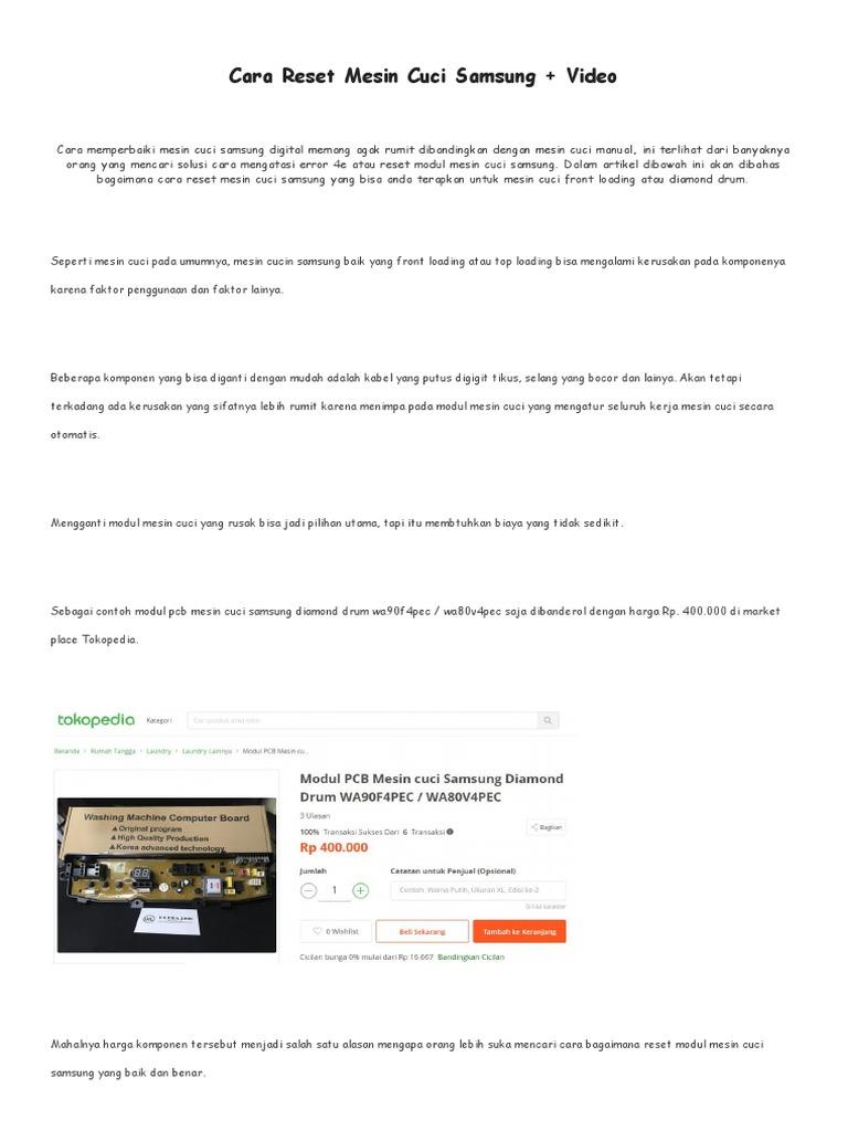 Temukan Cara Reset Mesin Cuci Samsung Wa90F4 Terbaru
