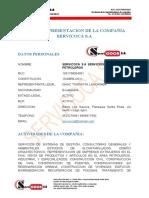 CARTA DE PRESENTACION DE LA COMPAÑÍA SERVICOCA S