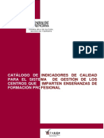 CATALOGO INDICADORES GESTIÓN CENTROS FP