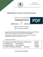 Amelioration Des Performances Liees a La Gestion de La Fonction Maintenance Au Sein de Tanger Med
