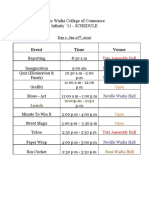 Schedule for Infinity 11