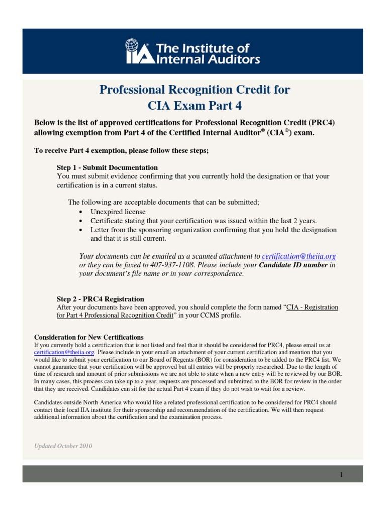 Cia Exemptions For Other Qualifications Accountant Professional