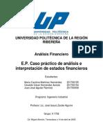 E.P. Caso practico de análisis e interpretación de estados financieros
