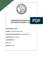 LITERATURA ARGENTINA II SAITTA 1° CUATRI 2020