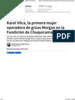 Karol Vilca, la primera mujer operadora de grúas Morgan en la Fundición de Chuquicamata