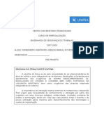 PRE PROJETO TRABALHO FINAL ESPECIALIZAÇAO EM ENGENHARIA DE SEGURANCA DO TRABALHO.doc