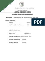 INFORME DE LABORATORIO (DETERMINACIÓN DEL CALOR ESPECÍFICO DE UN METAL)