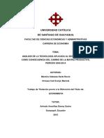 ANALISIS DE LA TECNOLOGIA APLICADA AL SECTOR AGRICOLA COMO CONSECUENCIA DEL CAMBIO DE LA MATRIZ PRODUCTIVA