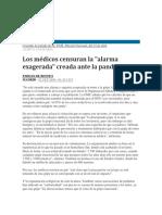 EL PAÍS - 2009 - Alerta Sanitaria - Los médicos censuran la alarma exagerada creada ante la pandemia