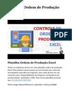 Planilha Ordem de Produção Excel