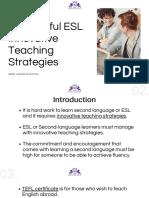 Successful ESL Innovative Teaching Strategies