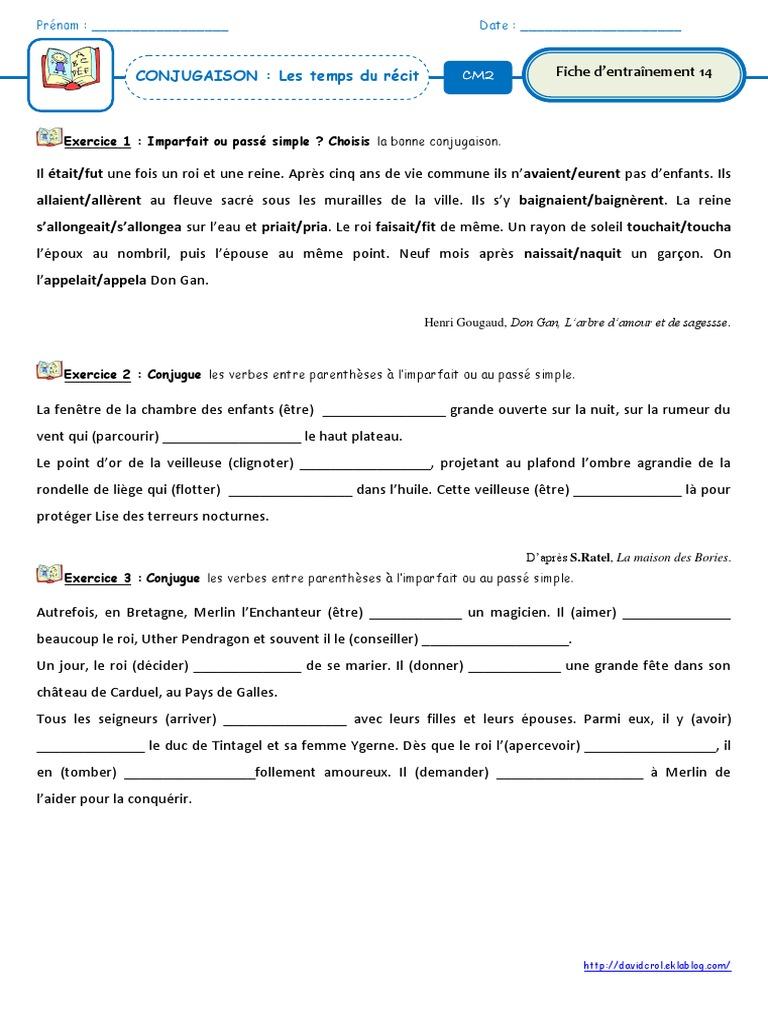 Conjugaison Les Temps Du Recit Exercice 1 Imparfait Ou Passe Simple Choisis La Bonne Conjugaison