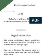 Lab 08 to Perform MSK & GMSK Modulation Demodulation in Simulink