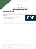 Ato pró-Bolsonaro em Brasília reúne manifestantes em defesa de medidas inconstitucionais _ Política _ G1