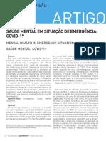 Saúde mental em sittuação de emergência COVID